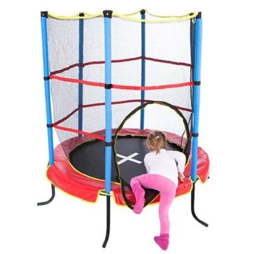 Ultrasport Kinder Indoortramplin Jumper 140 Inklusiv Sicherheitsnetz, Rot/Blau, 33070000065P - 4