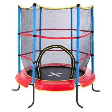Ultrasport Kinder Indoortramplin Jumper 140 Inklusiv Sicherheitsnetz, Rot/Blau, 33070000065P - 1