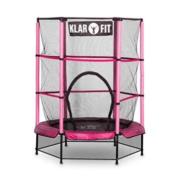 Klarfit Rocketkid Trampolin 140cm Sicherheitsnetz innen, Bungeefederung, pink - 2